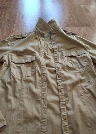 Удлиненная бежевая рубашка