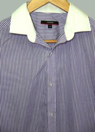 Мужская приталенная рубашка в полоску с белым воротником