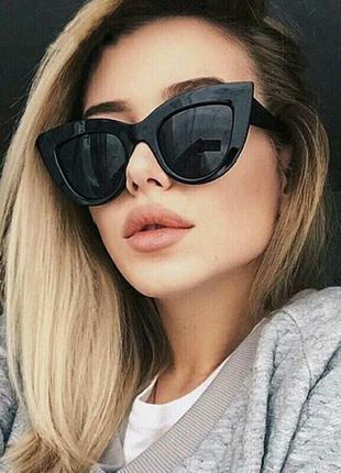 Скидка!новые,стильные,модные,тренд,солнцезащитные очки,зеркальные,ретро,черные лисички