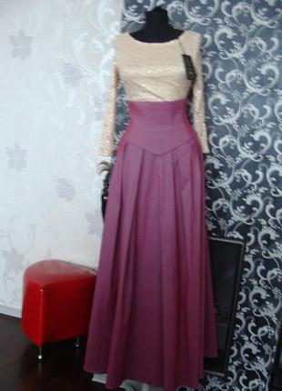 Нарядная стильная юбка в пол с завышенной талией