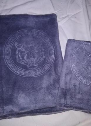 Комплект полотенец из микрофибры. * тигр * 2 шт готовимся к 23 февраля. отличный подарок.