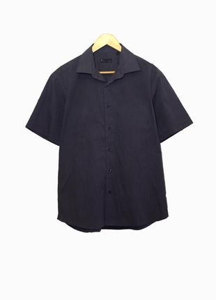 Стильная мужская рубашка в полоску мелкую с коротким рукавом