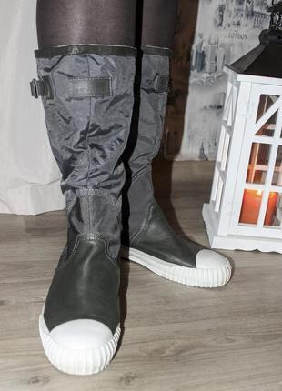 Комбинированные демисезонные водонепроницаемые кожаные сапоги от g-star raw {41 размер}