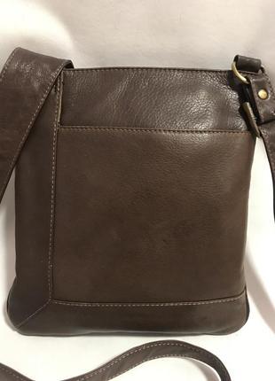 Кожаная сумка - планшет через плечо. стиль кросс боди
