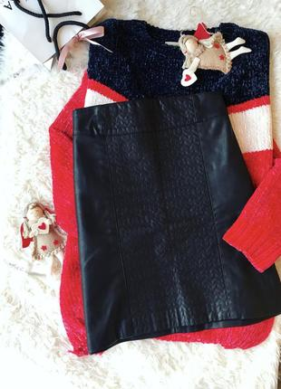 Чёрная кожаная юбка zara