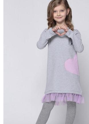 Трикотажное платье с сердечком vidoli, размер 140