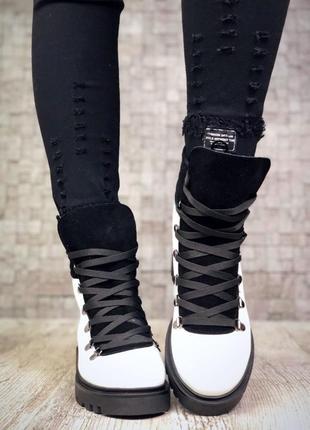 Рр 37 по скидке зима натуральная кожа+замш люксовые контрастные черно-белые ботинки4
