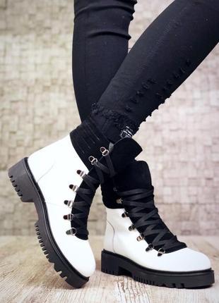Рр 37 по скидке зима натуральная кожа+замш люксовые контрастные черно-белые ботинки5