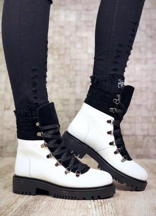 Рр 37 по скидке зима натуральная кожа+замш люксовые контрастные черно-белые ботинки2