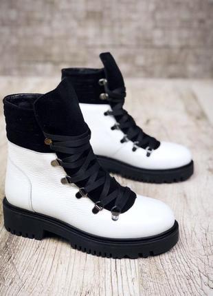 Рр 37 по скидке зима натуральная кожа+замш люксовые контрастные черно-белые ботинки1