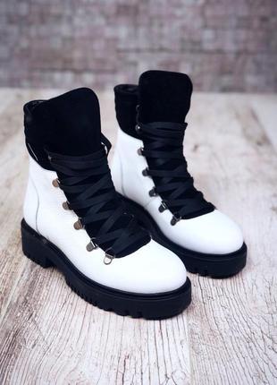 Рр 37 по скидке зима натуральная кожа+замш люксовые контрастные черно-белые ботинки3