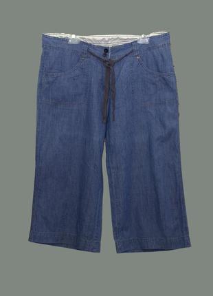 Стильный джинсовые бриджи с карманами на лето больiого размера uk16