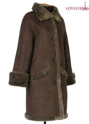 Дубленка женская из овчины натуральный мех длинное пальто с капюшоном зимняя дублянка зима