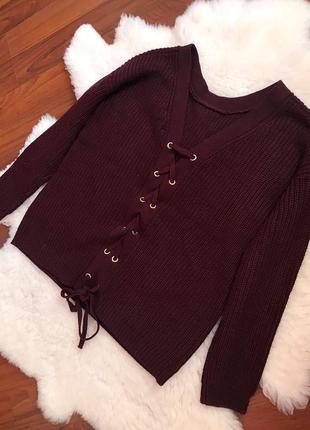 Шикарная кофта , свитер цвета марсала со шнуровкой