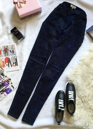Нереально красивые джинсы скинни с бархатным рисунком papaya