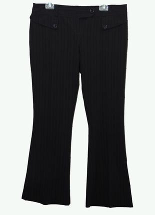 Черные брюки в полоску , клеш от колена uk14-16