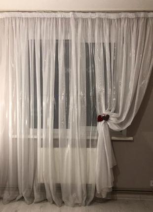 Тюль в гостинную, тюль в спальню, штора белая