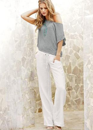 Льняные белые широкие брюки uk14-16