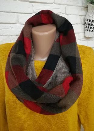Снуд/теплейший шарф - труба в клетку+флис.