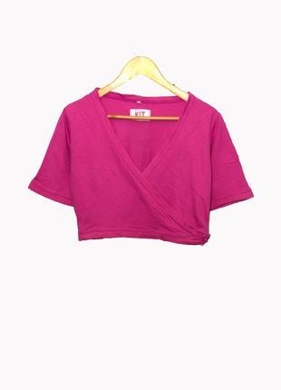"Collection kit/укороченная футболка топ на запах цвета ""фуксия"""