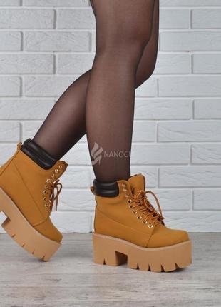Ботинки женские на платформе campbell nirvana yellow boot style🔥 желтые ботильоны