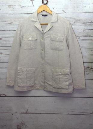 Льняной пиджак/френч, карго с накладными карманами uk18