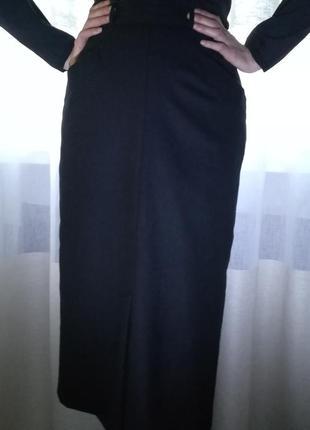 Теплая черная юбка из 100%шерсти, ретро-винтаж