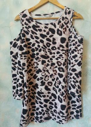 Платье леопард открытые плечи george