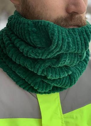 Вязаный шарф снуд хомут зеленый цвет