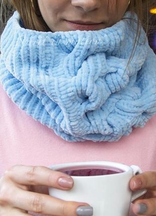 Авторский вязаный шарф снуд светло - голубой