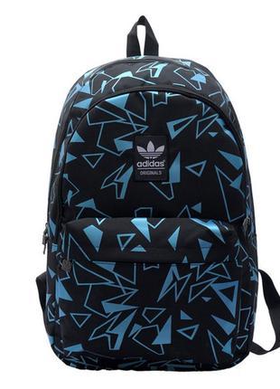 Рюкзак adidas черный с голубыми треугольниками (реплика)