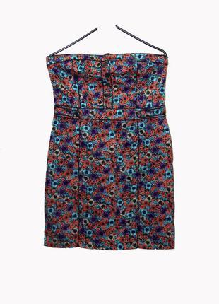 Летнее платье в цветочный принт без бретелек uk12-16