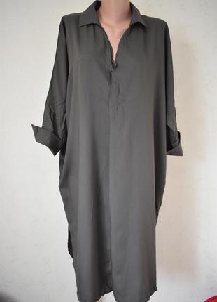 Стильное натуральное платье-рубашка большого размера