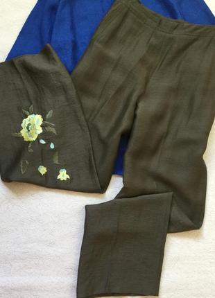 Широкие брюки с вышивкой лён +вискоза mamut размер 14