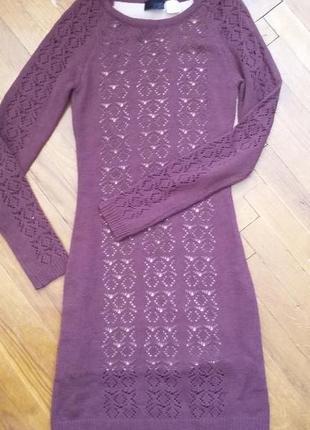 Теплое ажурное платье