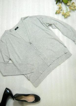 Стильный базовый серый кардиган кофта джемпер на пуговицах длинный рукав от f&f m