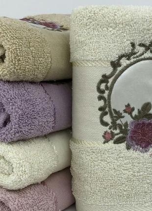 Комплект махровых  полотенец премиум роза портрет 1,4х0,7  баня  6 шт