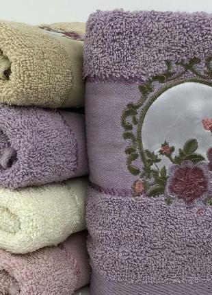 Комплект махровых  полотенец премиум роза портрет 1,4х0,7  баня  6 шт2 фото