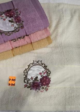 Комплект махровых  полотенец премиум роза портрет 1,4х0,7  баня  6 шт4 фото