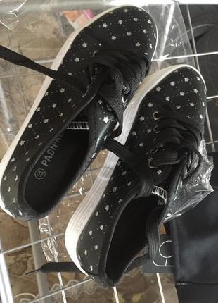 Слипоны черные на высокой платформе