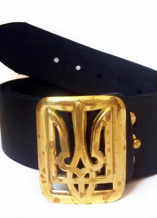 Ремень кожаный с генеральской пряжкой латунной тризуб