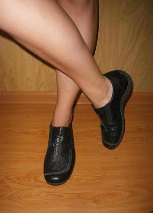 Удобные фирменные ботиночки/нат.кожа/26 см/низкий ход
