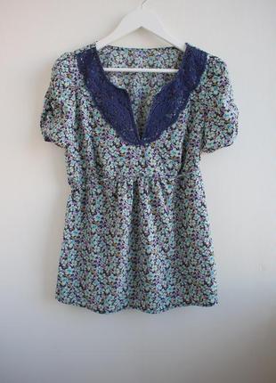 Блуза в цветочный принт с кружевом dorothy perkins