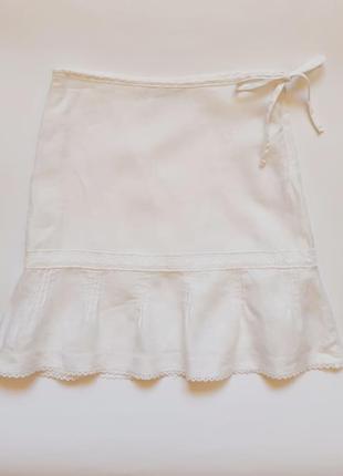 Льняная юбка с кружевом на девочку 7-8 лет, р. 122-128 см