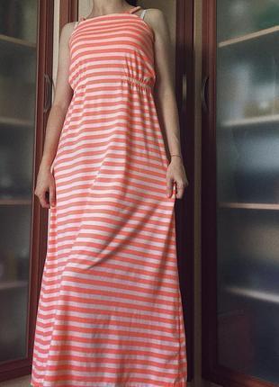 Полосатый сарафан на брителях, летний сарафан, платье в пол