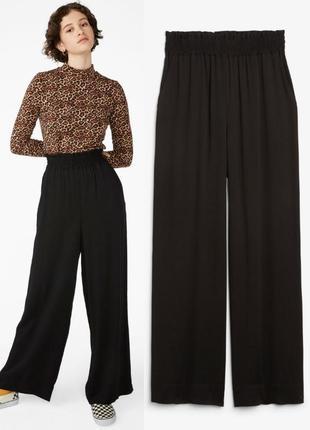 Широкие сатиновые брюки pieces м,новые широкие длиннын черные брюки