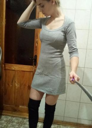 Базовое серое платье mango