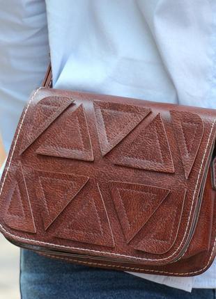 Необычная маленькая сумочка коричневая, клатч