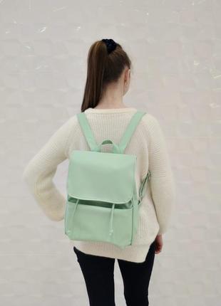 Красивый вместительный женский рюкзак мятный