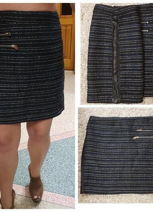 Короткая демисезонная  юбка с кожаными вставками по бокам miss captain
